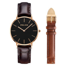 Police PL.15304BSR/02SET Men Black Dial Dark Brown Leather Watch + Extra Strap [PL.15304BSR/02SET]