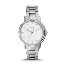 Fossil Neely - Silver Round Dial 34mm - Stainless Steel - Silver - Jam Tangan Wanita - ES4287