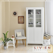 Lemari - Modern White Cabinet Glass - LIVIEN FURNITURE