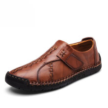 Zanzea Men Soft Sole Hand Stitching Genuine Leather Hook Loop Flat Oxfords Shoes Light Brown 42