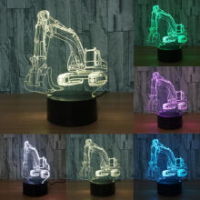 Farfi 3D Excavator 7 Colors LED Touch Night Light Room Bedroom Bedside Desk Lamp as the pictures