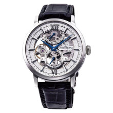 Orient Star Flagship Skeleton Power Reserve Spherical RE-DX0001S Men Silver Dial Black Leather Strap [RE-DX0001S]