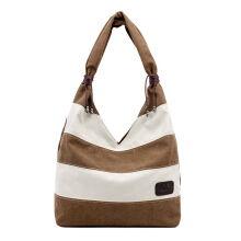 SiYing Simple casual handbag striped shoulder canvas bag