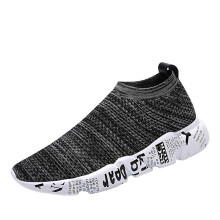 BESSKY Men Fashion Graffiti Anti Skidding Ventilation Round Toe Running Gym Shoes _
