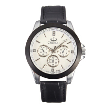 Zanzea CHENXI Casual Watch Leather Rhinestone Men Watch Black