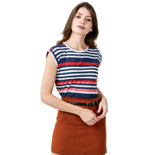 FACTORY OUTLET LO1709-0005 Women T-Shirt SS - 01G2 Navy Stripe Small