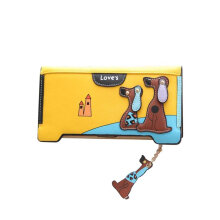 [LESHP]Cartoon Women Wallets Ladies Soft PU Leather Money Multi-Cards Slots Wallet Yellow