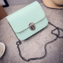 [LESHP]Fashion Lady Spring Summer Mini Chain Shoulder Wave Plackets Of Candy Package Light Green