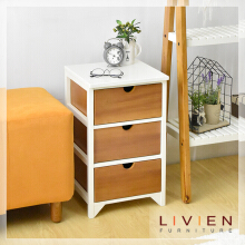 LIVIEN FURNITURE - Meja Sudut Nakas 3 Laci Cubic Series - Side Table Brown