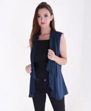 Rianty Basic atasan wanita vest cardigan alicie - navy Navy Blue All Size