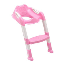 [COZIME] Foldable Children Potty Seat With Ladder Cover PP Toilet Adjustable Chair Pink1