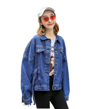 DAVID777 Fashion washed long-sleeved denim jacket female Harajuku style bf loose student shirt