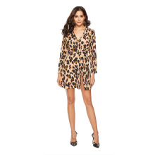 Newlan Q09 New women leopard sexy knotted dress chiffon skirt