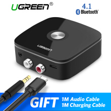 UGREEN Bluetooth Receiver V4.1 Wireless Auido Music RCA Adapter for Home Car Music Streaming Sound System with 3.5mm and 2RCA Black