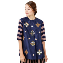 STUDIO 133 BIYAN Embroidery Blouse Mix Stripes - Navy Beige