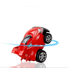 Jantens 2Pcs/lot Mini 360 Degrees Rotation Upright Stunt Inertial Car Children Education Toy Black and red