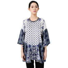 STUDIO 133 - BIYAN Satin Peplum Blouse Flower Damask