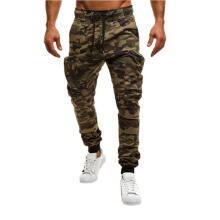 Farfi Men Camouflage Zipper Pocket Sport Pants Jogging Sweatpants Long Trousers