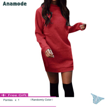 Anamode Winter Plus Velvet Thickening Dresses Women Warm Mini Dress Long Sleeve -Red -