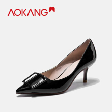 AOKANG women's high heel pumps Shoes pointed toes office buckle OL ladies shoes