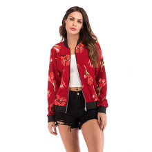 Women Jacket Floral Printed Plus Size Casual Baseball Long Sleeves Coat Jacket red L