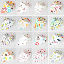 [COZIME] Universal Baby Drool Triangle Bibs With Snaps For Drooling Feeding Baby Random