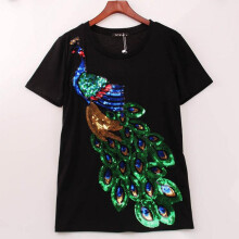 Jantens 2018 Noble Elegant Women Peacock  T-shirt Women