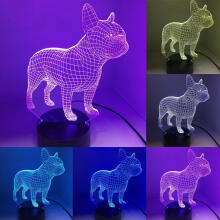 Farfi Pit Bull Dog Acrylic LED Decor Lamp Table Desk Light Black Base