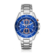 Michael Kors Jet Master - Blue Round Dial 43mm - Stainless Steel - Silver - Chronograph - Jam Tangan Pria - MK8461 - SL