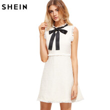 SHEIN Women Ladies White Party Dress Tie Collar Sleeveless Elegant Frayed Trimmed Tweed Dress