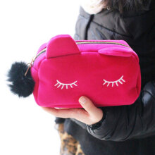 [LESHP]Large Capacity Cartoon Cat Cosmetic Bag Velvet Solid Color Make Up Rose Red