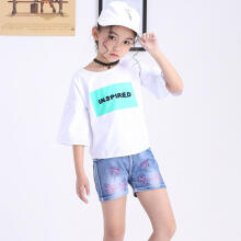 Farfi Summer Kids Girls Cute Bow Printing Denim Shorts Hot Pants Jeans with Pockets