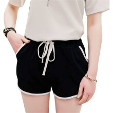 Spring Summer Women Casual Shorts Loose High Waist Contrast Color Stitching Black One Size