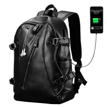 Jantens Simple  Capacity Mens Leather Backpack For Travel Casual  Backpack Black