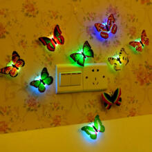Farfi LED Night Light 3d Simulation Butterfly Wall Stickers Home Party Decor as the pictures