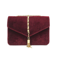 [LESHP]Velour Cross Body Shoulder Bag Tassel Small Square Fashion Women Chain Red