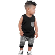 BESSKY Infant Toddler Baby Boys Girl Plaid Tops T Shirt Vest Shorts Outfits Clothes Set_