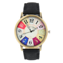 [LESHP]40mm Colorful Dial Golden Round Shell Date Quartz Wrist Watch Analog Chic Black