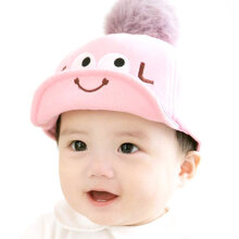 Autumn & Winter Baby Baseball Hat Baby Boy Peaked Single Pom Wool Ball Cap Pink