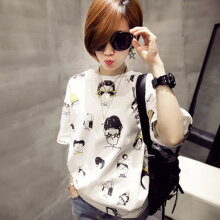 Casual Short Sleeve T-shirt Round Collar Pullovers Cartoon Print Fashion White M