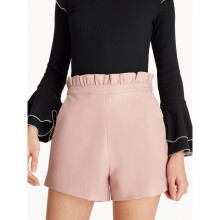 Faux Leather Paper Bag Shorts - Pink
