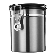 JDwonderfulhouse 1.5L Stainless Steel Coffee Bean Storage Container Canister CO2 Valve Free Scoop Silver
