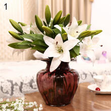 Farfi 3 Heads Sweet Artificial Flower Fake Lily Floral Home Wedding Party Decor