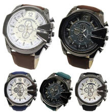 Farfi Men Big Dial Faux Leather Band Stainless Steel Analog Quartz Sports Wrist Watch