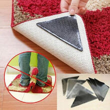 Farfi Rug Carpet Mat Grippers Non Slip Anti Skid Reusable Washable Silicone Grip 4 Pairs as the pictures