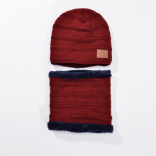 SiYing Korean version of the winter neck and velvet thickening men's wool knit hat