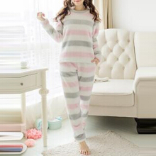 Zanzea 0051M-2XL Women Fur Fleece Pajamas Winter Autumn Warm Blouses Suit Trousers 2Pcs Set Pink XL