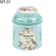 Farfi Vintage Flowers Cylinder Mini Tin Case Candy Tea Package Container Storage Box