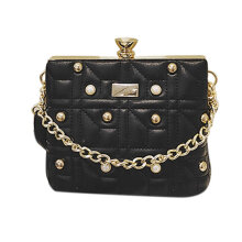 [LESHP]Pearl Rivet Decoration Fashion Handbag Shoulder Bag Crossbody PU Leather Black