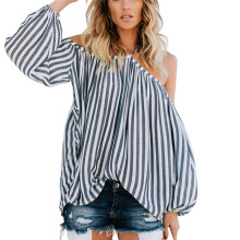 BESSKY Womens Fashion Casual Striped Print Open Shoulder Strapless T-shirt Blouse Tops_
